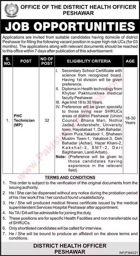 Latest Jobs in Pakistan PHC Technician Jobs 2021