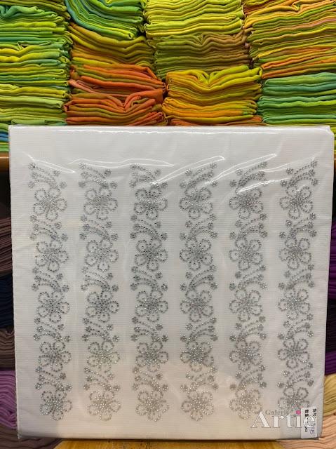 Sticker hotfix rhinestone DMC 6 jalur aplikasi tudung, bawal & fabrik pakaian motif bunga besar bertangkai