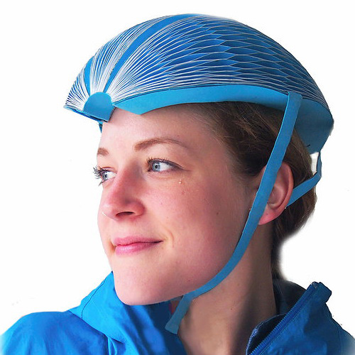 Tinuku Isis Shiffer create bike EcoHelmet made of folded paper structure wins James Dyson Award
