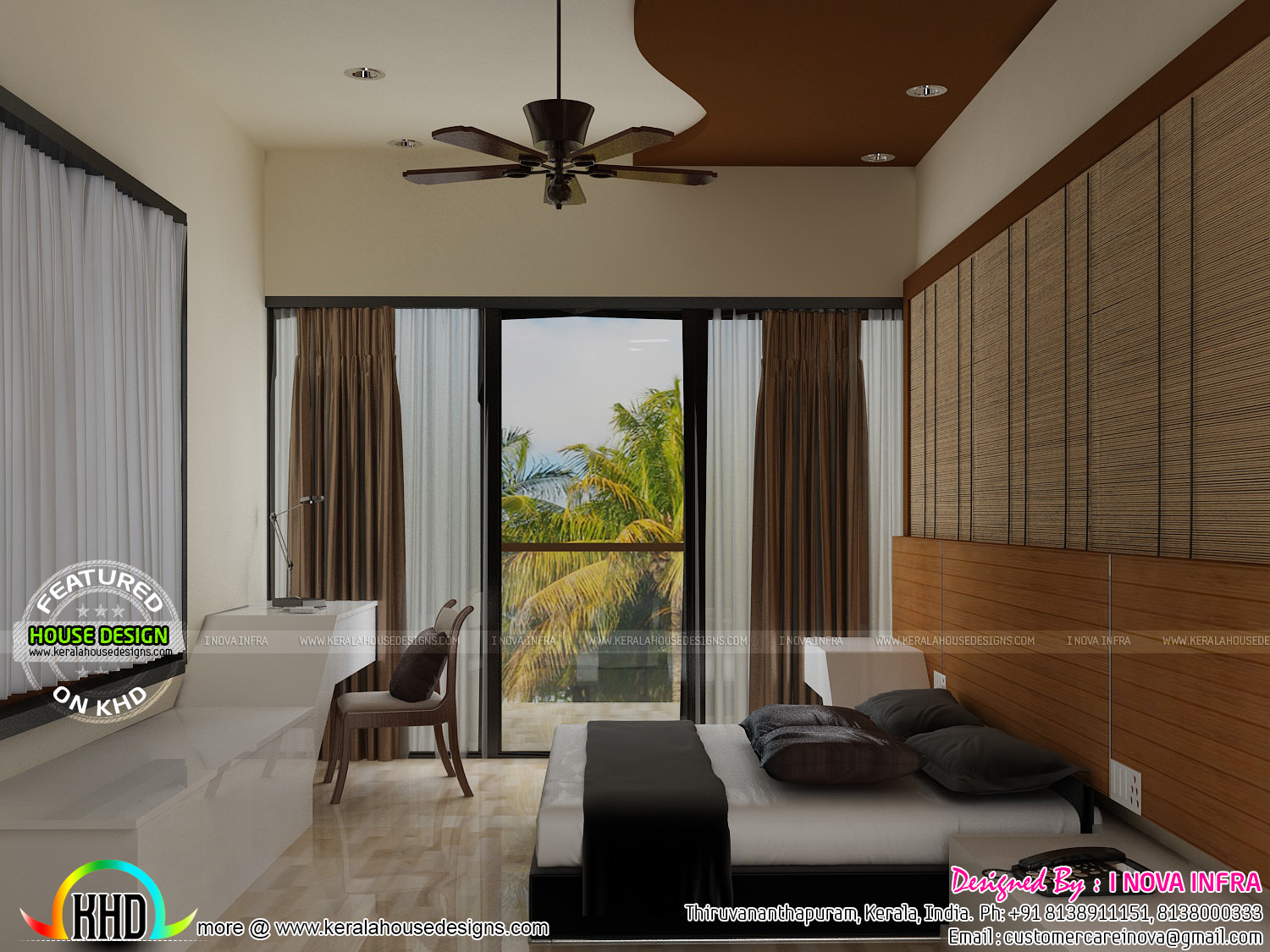 Balcony dining bedroom and staircase interior kerala home design and floor plans - Best bedroom with balcony interior ...