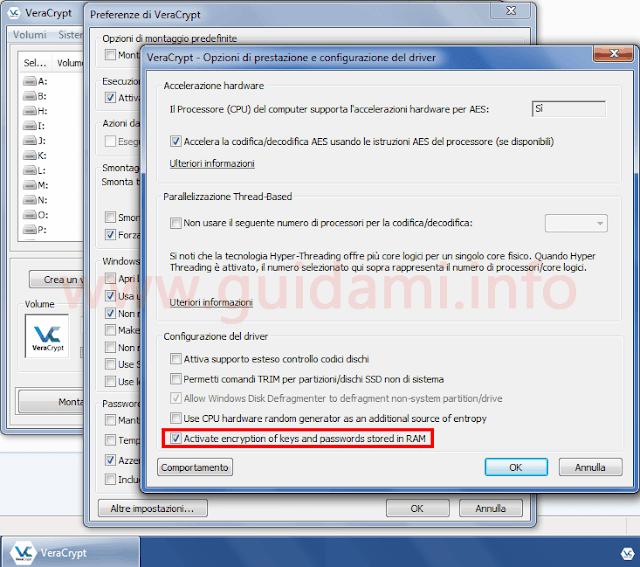 VeraCrypt Opzioni di prestazione e configurazione del driver