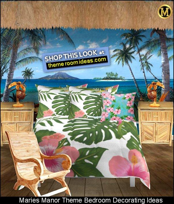 Jungle Floral Print Comforter tropical beach bedroom decor tropical mural