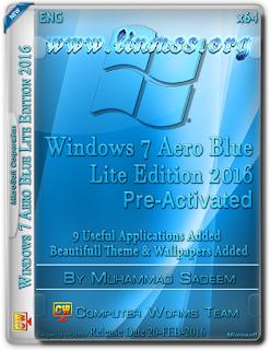Windows 7 Aero Blue Lite Edition 2016 (x64-Bit) Activated (1.40 GB)