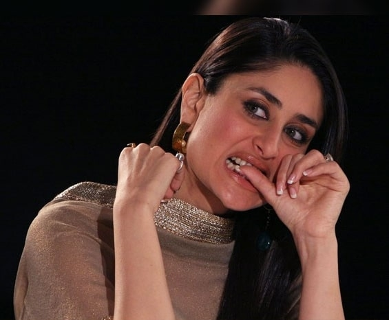 Kareena Kapoor biting nails - her famous nail biting bad habit