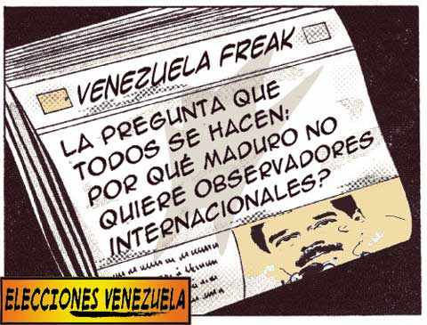 Front page tipo cómic - Maduro y observadores internacionales Venezuela