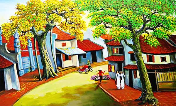 Hà Nội xưa tranh sơn dầu