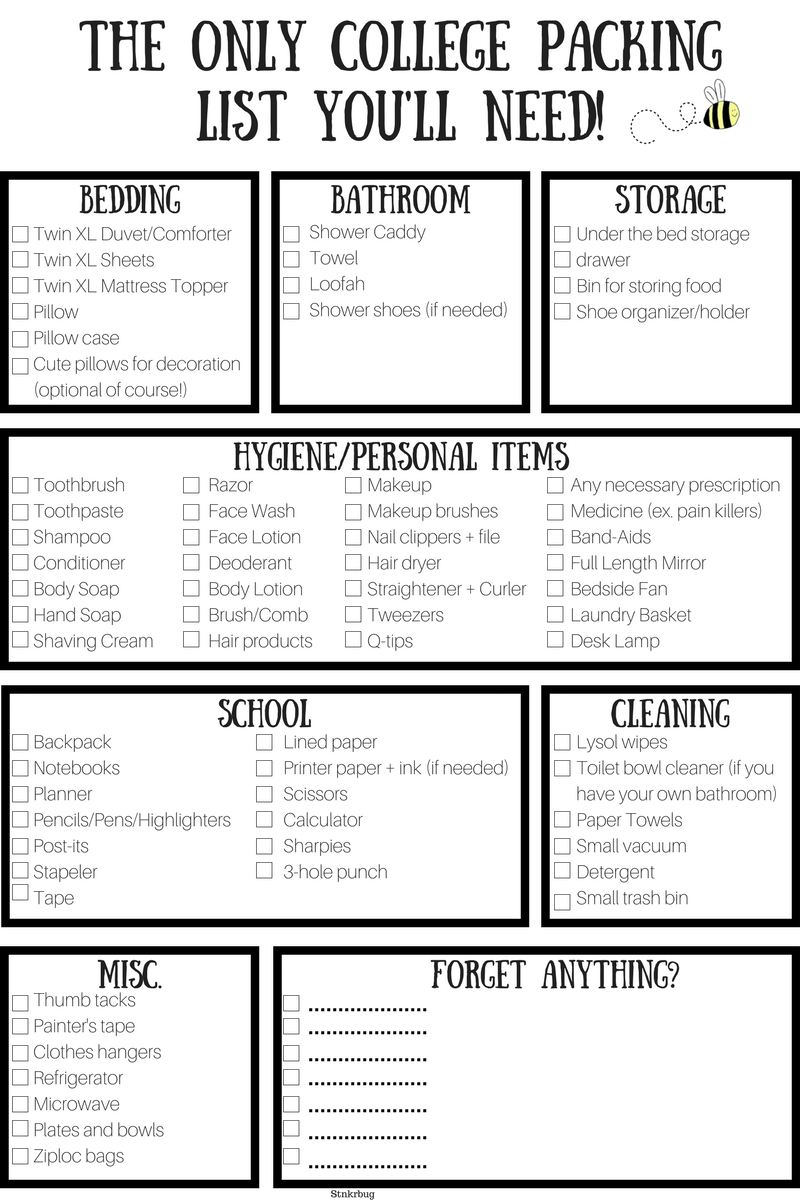 college packing checklist