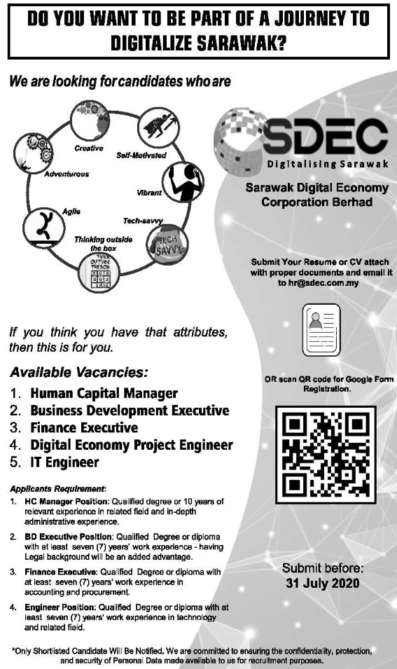Job Vacancy at Sarawak Digital Economy Corporation (SDEC)