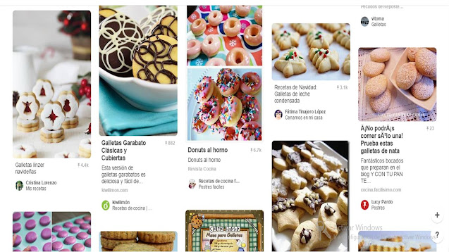 Página de Pinterest de repostería