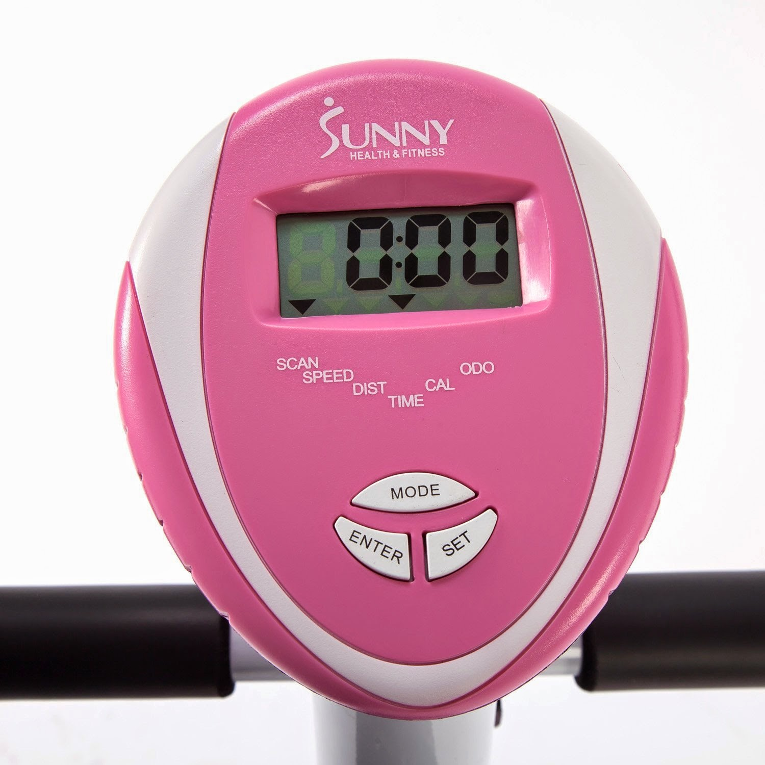 Sunny Health & Fitness Pink Magnetic Upright Bike, easy to use digital pink monitor