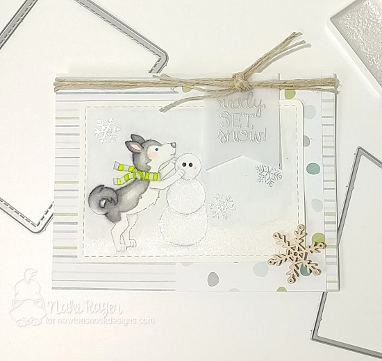 Husky Dog building Snowman | Card by Naki Rager | Winter Woofs Dog Stamp set and Frames & Flags Die Set by Newton's Nook Designs #newtonsnook
