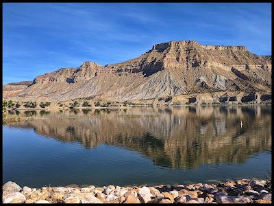 Morning reflection on Millsite Reservoir