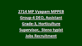 2714 Madhya Pradesh MP Vyapam MPPEB Group-4 DEO, Assistant Grade-3, Horticulture Supervisor,  Steno typist Jobs Recruitment Exam-2018