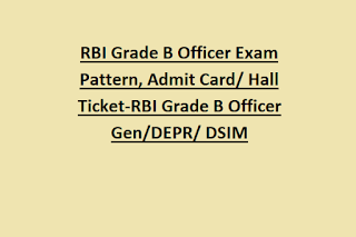 RBI Grade B Officer Exam Pattern, Admit Card Hall Ticket-RBI Grade B Officer Gen DEPR DSIM Preliminary Exam 2019