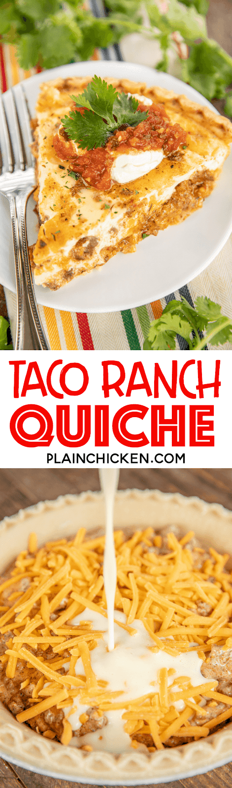 collage of two photos of taco ranch quiche