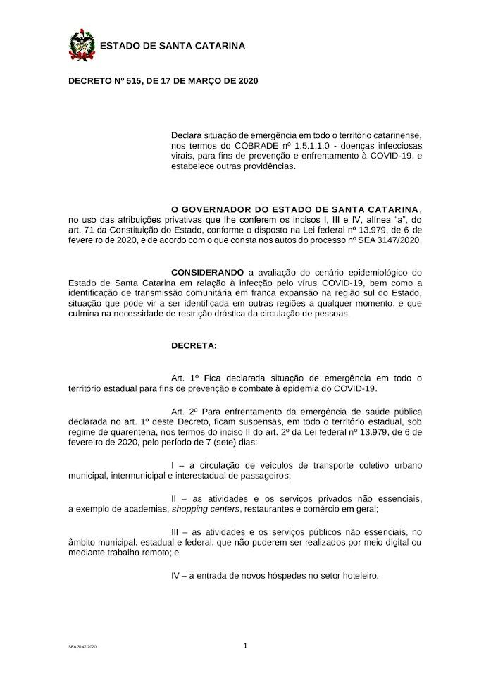Saúde: Leia o Decreto 515, emitido pelo Governo de Santa Catarina