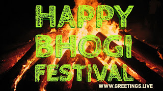 Happy bhogI festival image with bhogi fire