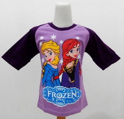 Kaos Raglan Anak Karakter Frozen Elsa Ana Ungu Muda