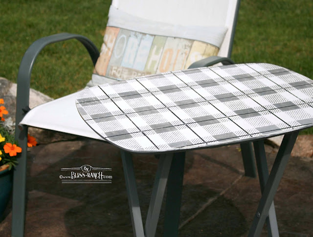 TV Trays Upcycled To Patio Tables with Old Sign Stencils Bliss Ranch.com
