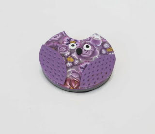 Lilac Millefiori Owl Brooch made from polymer clay handmade by Lottie Of London