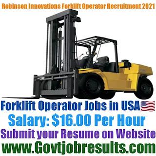 Robinson Innovations Forklift Operator Recruitment 2021-22