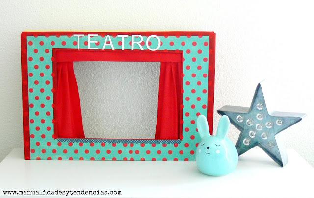 Teatro de marionetas de carton bonito