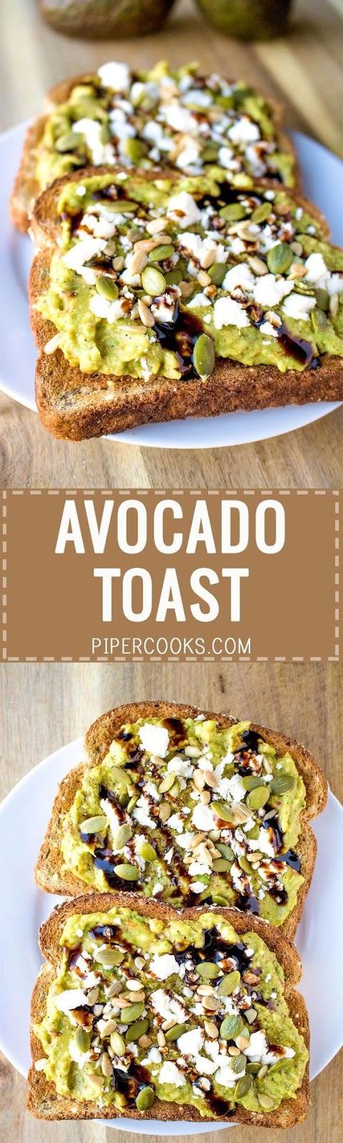 Avocado Toast with Feta Cheese and Balsamic Glaze