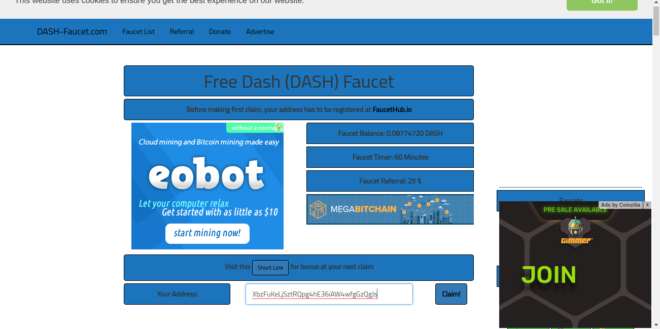 Dash Faucet | Gana Dash