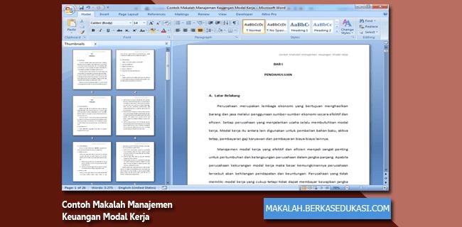 Contoh Makalah Manajemen Keuangan Modal Kerja