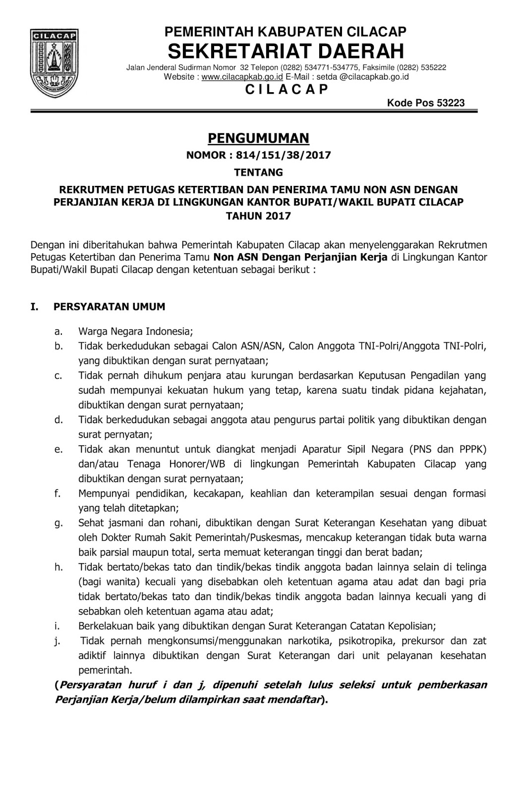 Lowongan Kerja   Non ASN Lingkungan Kantor Bupati/Wakil Bupati Cilacap Tingkat SMA D3  Agustus 2018