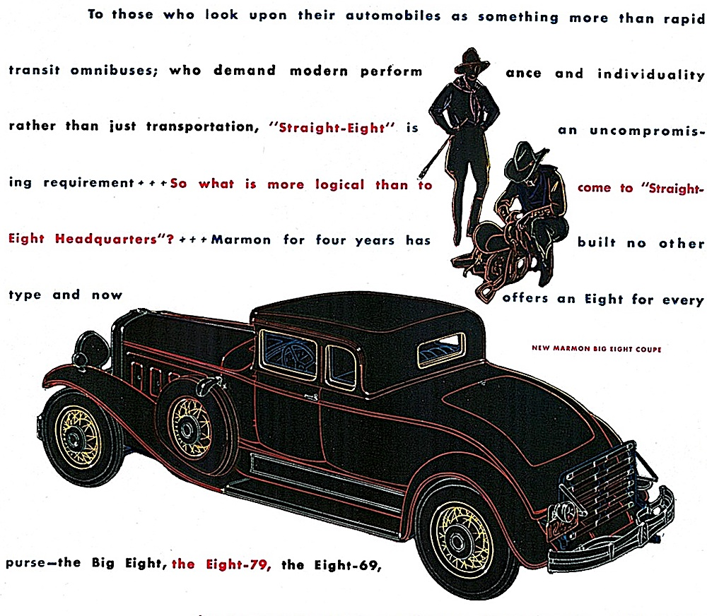 a 1930 Marmon Roosevelt ad illustration