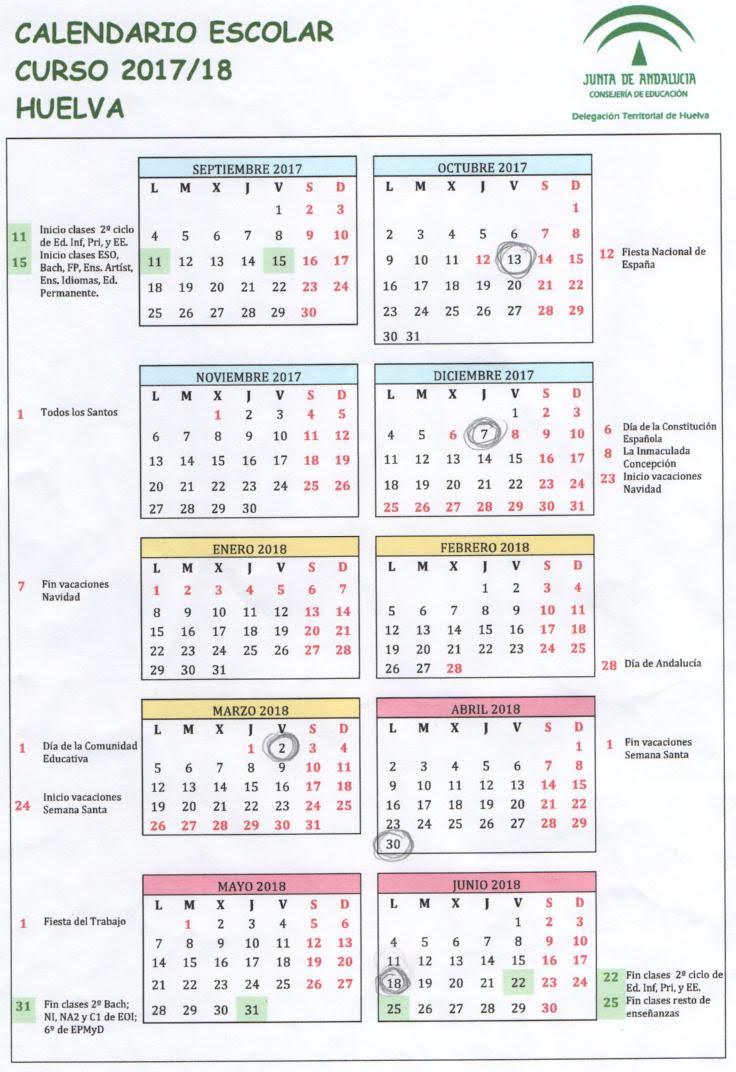 Calendario Escolar Huelva.Ies Vazquez Diaz Calendario Escolar 2017 18