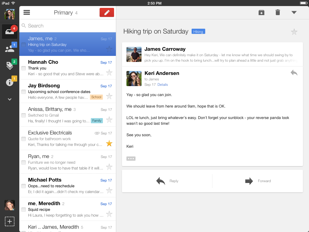 Official Gmail Blog A New Look For The Gmail App On Ipad