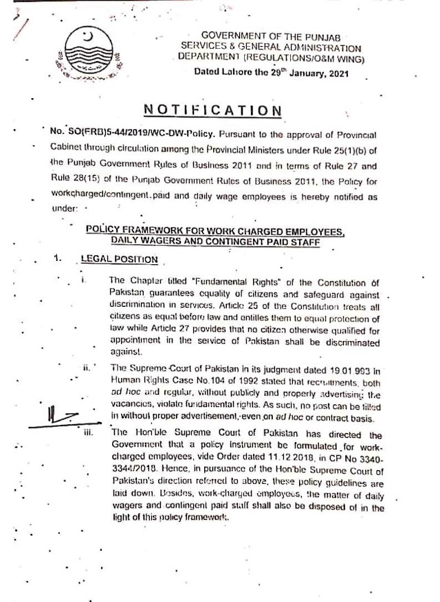 POLICY FRAMEWORK FOR WORK CHARGED EMPLOYEES, DAILY WAGERS AND CONTINGENT PAID STAFF