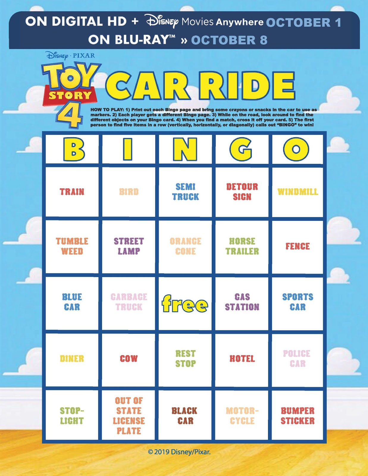 Toy Story 4 Giveaway And Free Car Bingo Activity Pages To