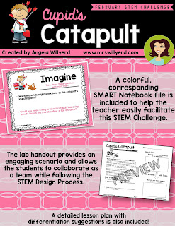 Cupid's Catapult STEM Challenge encourages students to follow the STEM Design Process while creating a catapult to help ease Cupid's workload!