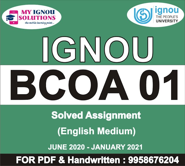 BCOA 01 Solved Assignment 2020-21