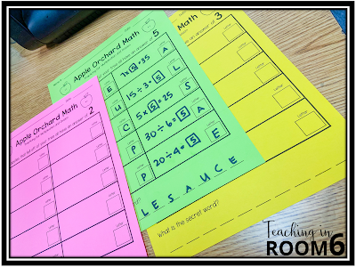 """Differentiated worksheets for """"Apple Orchard Math"""" with balloons.  The papers correspond to the balloon color and a leveled."""