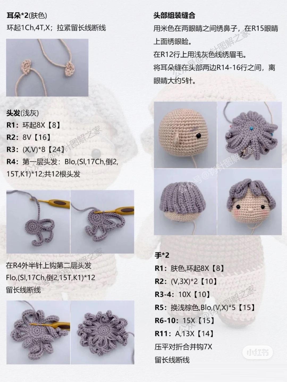 Описание вязания крючком кукольной пожилой пары (2)