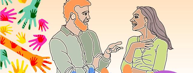 Casal a conversar