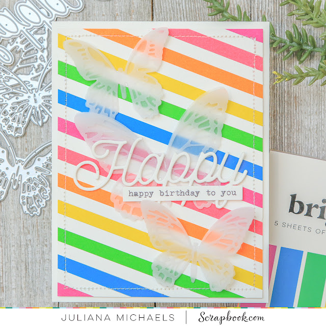 Bright Stripes Birthday Card by Juliana Michaels featuring Scrapbook.com Brights Paper Pad