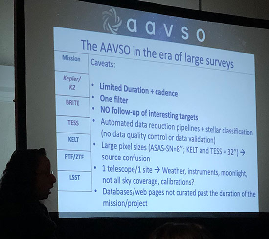Stella explains need for AAVSO observations to support large survey projects (Source: 108th AAVSO Meeting)