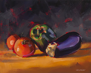 painting of an eggplant with tomatoes and a green pepper
