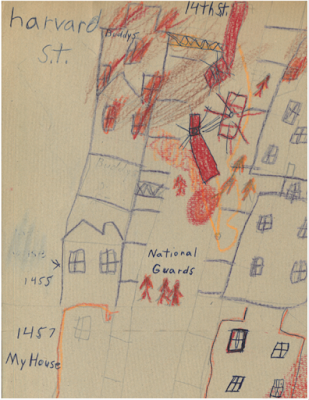Drawn by a 4th-grader, this map scene, drawn in pencil and crayon, may have had its inspiration from newspaper maps published at the time of the 1968 riots showing areas most damaged by fire.