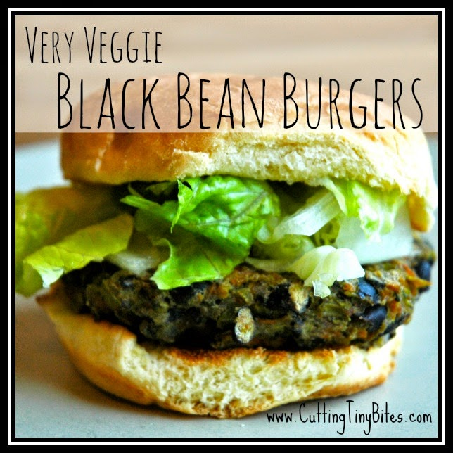 Very Veggie Black Bean Burgers.  Loaded with veggies and beans, makes a great weeknight meal.  Freezes beautifully!