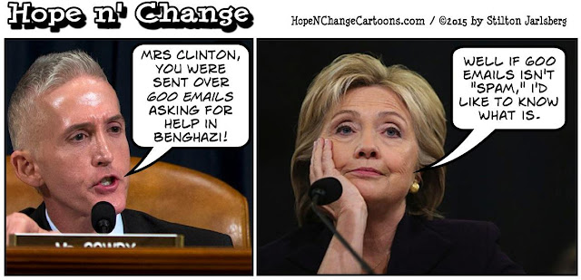 obama, obama jokes, political, humor, cartoon, conservative, hope n' change, hope and change, stilton jarlsberg, hillary, clinton, benghazi, gowdy, emails, stevens