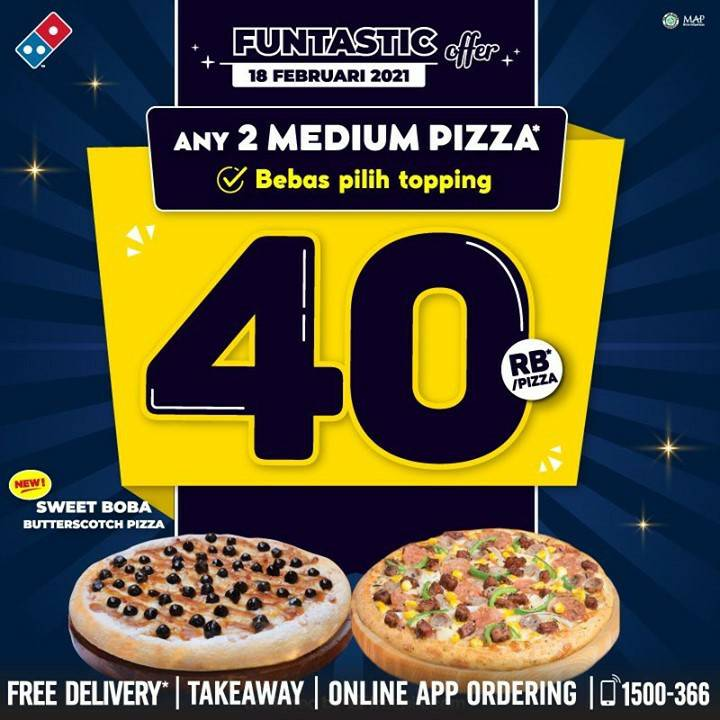 Promo Dominos Pizza! Beli 2 Medium Pizza cuma 40Rb + Bebas Pilih Topping