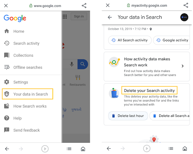 delete your search activity from Google