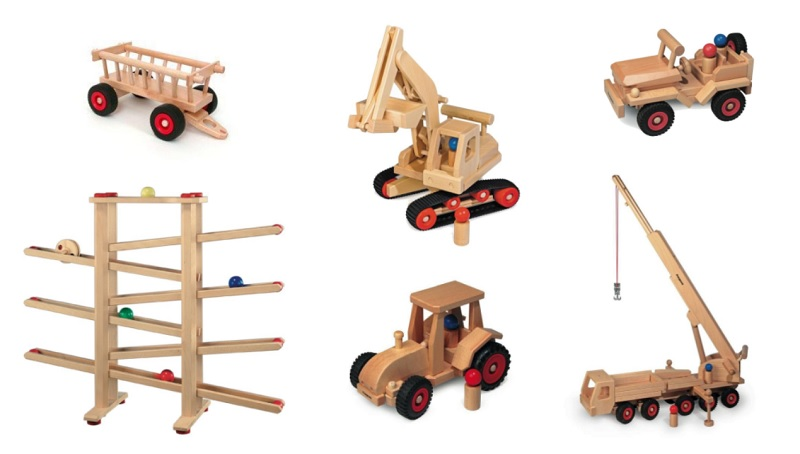 fagus wooden toy cars and marble run