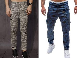 Men wearing Military print trousers